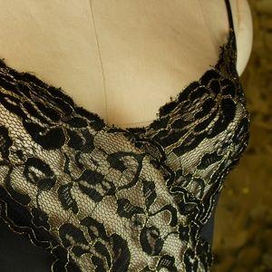 Metallic Lace Colesce Collection Black + Gold Slip